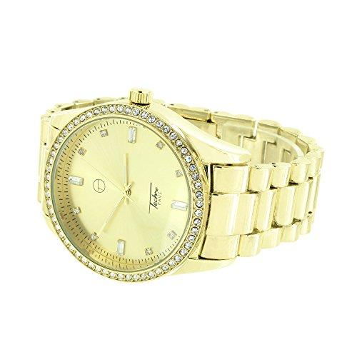 Gold Finish Presidential simulierten Diamanten Party Wear Classy 46 mm