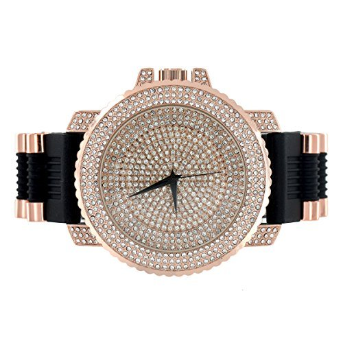 Rose Gold Finish Iced Out Ziffernblatt Simuliert Diamant JoJo Joe Rodeo 56 mm