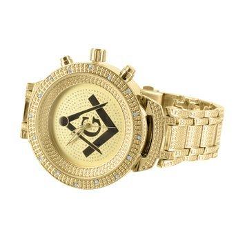 Freimaurer G Zifferblatt Uhren 14 K Gelb Gold Finish Lab Diamanten Luenette Joe Rodeo Jojo