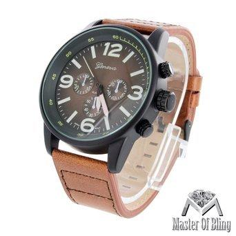 Black Watch Geneva Braun Leder Schwarz Gold Ton Stahl Rueckseite