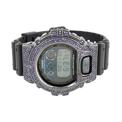 Herren 1AER Armbanduhr lila simulierten Diamanten DW6900 Custom Schwarz Silikon Band