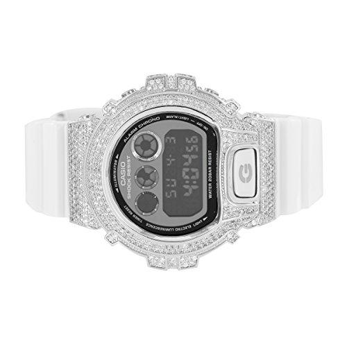 Herren 1AER Armbanduhr klar simulierten Diamanten DW6900 Custom Schwarz Silikon Band