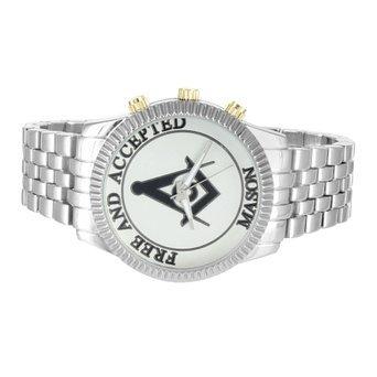 Herren Armbanduhr Weiss Gold Ton Freimaurer Freien und Angenommenen Zifferblatt Stahl Quarz Jojo