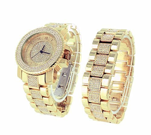 Rose Gold Ton Iced Out Kunstdiamant Hip Hop Armband Geschenk Set