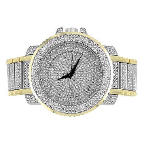Herren 2 Ton Armbanduhr vollstaendig Iced Out simulierten Diamanten Joe Rodeo Jojino Style 56 mm