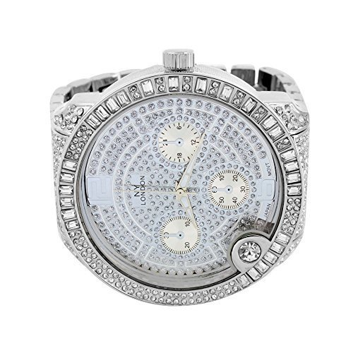 Herren Big Face Baguette Lab Diamant Armbanduhr Iced Out NY London Jojo Jojino Verkauf