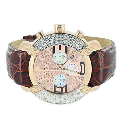 Herren Diamant Uhren Krokodil braun Lederband Aqua Master Rose Gold Finish