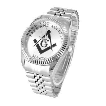 Herren Freimaurer Symbol Uhren 14 K Weiss Gold Ton Freien und Angenommenen Einzigartige Jubilee