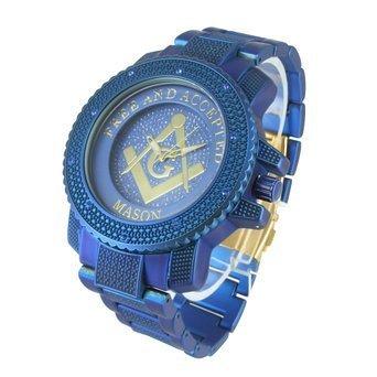 Herren Blau Freimaurer Watch 2 Ton Freien und Angenommenen Mason Lab diamantenluenette Jojino