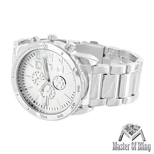 Herren Geneva Silber Armbanduhr 3 Time Zone weiss vergoldete Stahl Wasser widerstehen