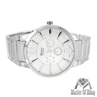Herren Geneva Silber Armbanduhr Rund Face Platin mehrere Zeit Zone Stahl NEU