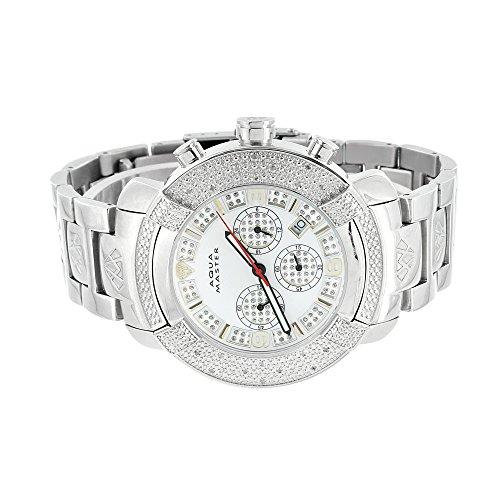 Herren Jojino Jojo Armbanduhr Aqua Master Echter Diamant weiss 3 Time Zone Custom