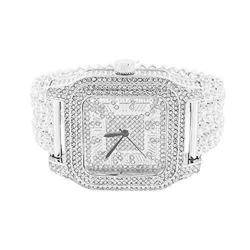Herren Weiss Quadratisch Uhr simulierten Diamanten Voll Iced Out Elegante Joe Rodeo Jojo