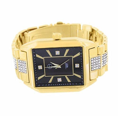 Herren Techno Pave Rechteck Form Classy Armbanduhr fuer Herren 14 K Gelb Gold Finish Band Verkauf