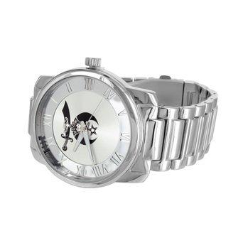 Herren Shriner Zifferblatt Uhren 14 K Weiss Gold Tone 49 mm Rueckseite aus Edelstahl Joe Rodeo