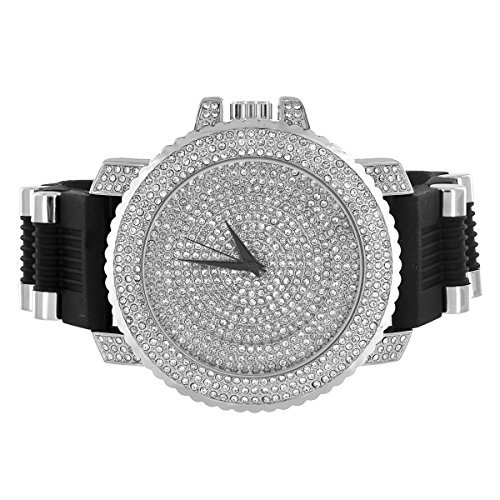 Herren simulierten Diamanten Armbanduhr Iced Out Gehaeuse Bullet Design Gurt Joe Rodeo Jojo