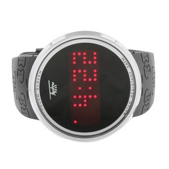 Herren Wasserdicht Digital Armbanduhr Weiss Gold Ton LED Touch Bildschirm Gummi Band Stahl