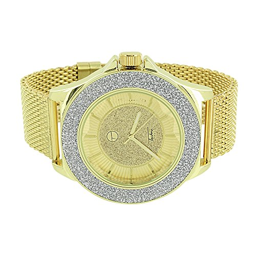 Illusion Luenette Armbanduhr Analog gold finish Mesh Armband 50 mm eleganten Stil