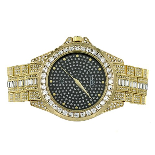 Kuenstlicher Diamant Bling Uhr Iced Out Hip Hop Rapper tragen Gold Finish Jojino