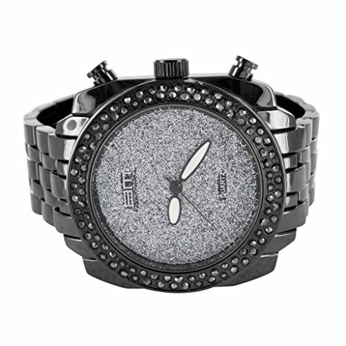 Uhren fuer Maenner 14 K schwarz gold finish Lab Diamant Glitzer Weiss Dial Jojo Jojino Verkauf