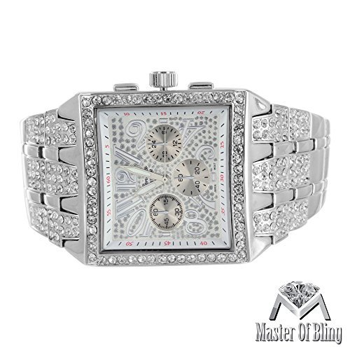 Master of Bling Big Square Face Iced Out Lab Diamanten Geneva Platinum Stahl Rueckseite weiss