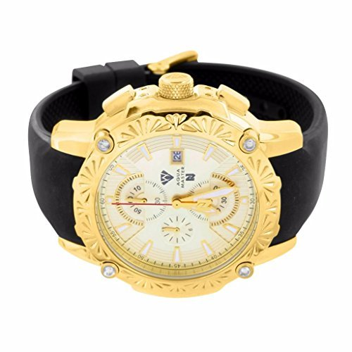 Aqua Master Uhr fuer Herren 14 K Gelb Gold Finish Luenette Echter Diamant weiss Zifferblatt Silikon Band Neu