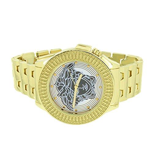 Medusa Gesicht Armbanduhr Gelb Gold Tone Band 50 mm Jojo Jojino Classy