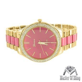 Damen Gold Ton Parker Pave Acetat Pink Zifferblatt Simuliert Lab diamantenluenette
