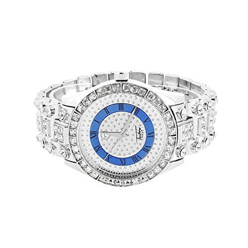 Herren Prinzessin Schnitt Armbanduhr simulierten Diamanten rund Cut Solitaire Jojino Jojo