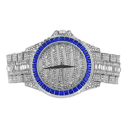 Blau Prinzessschliff Armbanduhr vollstaendig Iced Out Custom simulierten Diamanten Analog Jojino