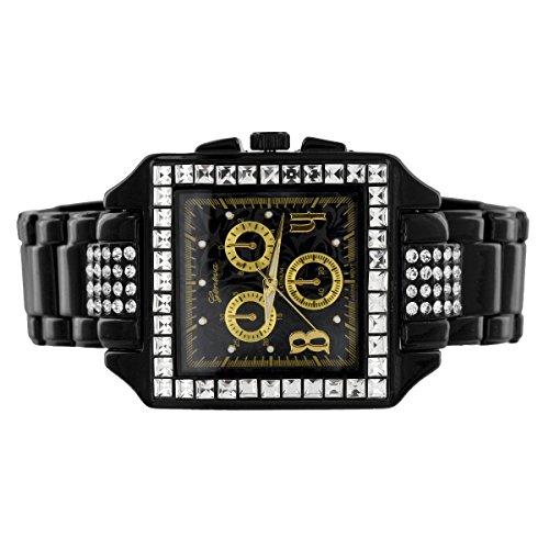 Prinzessschliff Finish Quadratische Armbanduhr Schwarz Gold Zifferblatt simulierten Diamanten Geneva Jojo