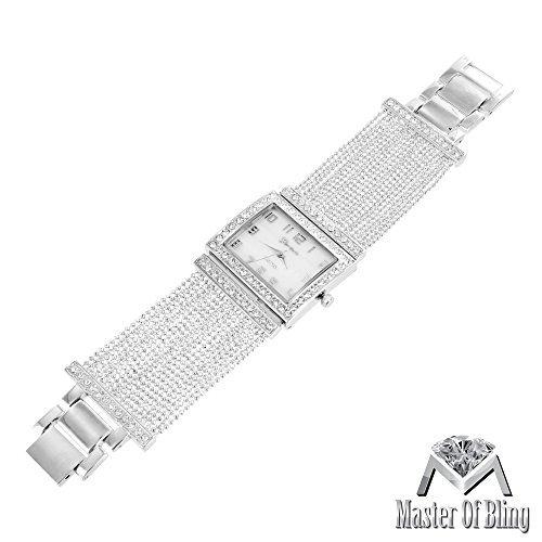 Quadratisch Face Damen Armbanduhr 14 K Weiss vergoldet Elegantes Armband Band Lab Diamant