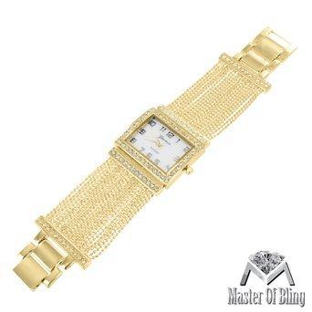 Quadratisches Zifferblatt Armbanduhr Gelb Gold Tone Weiss Zifferblatt simulierten Diamanten Damen Einzigartige