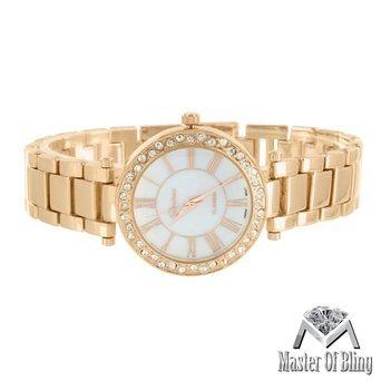 Roemische Zahl Damen Uhr Weiss Zifferblatt 1 Zeile Lab diamantenluenette Geneva Stahl Rueckseite