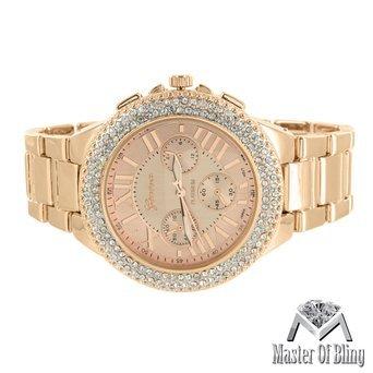 roemischen Stunde Zifferblatt Armbanduhr Rose Gold Finish Geneva Unisex Lab diamantenluenette Platinum 580