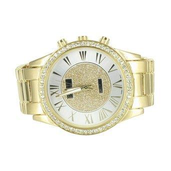roemischen Ziffern Zifferblatt Gold Ton Armbanduhr Herren Lab diamantenluenette Elegant Teil tragen Verkauf