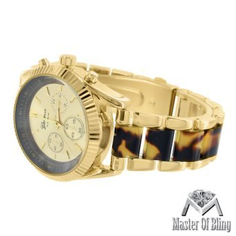 Schildkroete Acetat Link Armbanduhr Damen Geneva Gold Ton Platin Luxus MK Design
