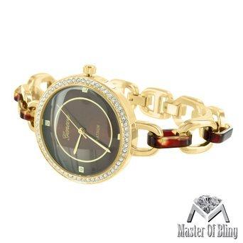 Damen Gold Ton Schildkroete Zifferblatt 2 Ton Link Armband Lab Diamanten Classy