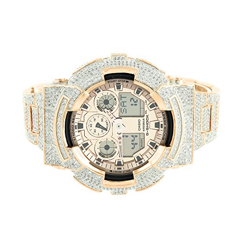 Rose Gold G Schock ga100gd 9 a Custom Kunstdiamant digital ana