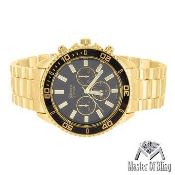 Schwarz Rund Zifferblatt Uhren 14 K Gold Tone Presidential Style Edelstahl Rueckseite NEU