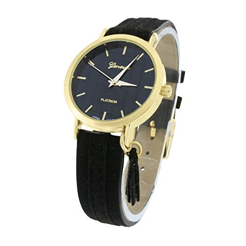 Schwarz Zifferblatt Damen Watch Gold Tone Wildleder Schwarz Band Party Wear Jojo Jojino Classy