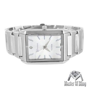 Silber Finish Herren Armbanduhr Weiss Ton Rechteck Zifferblatt Geneva Casual Wear Quarz 1062