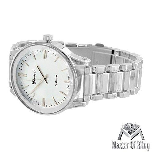 Silber Geneva Platinum Herren Armbanduhr Rund Weiss Zifferblatt Wasser widerstehen MK Stil Design