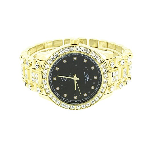 Solitaire Simuliert Diamant Uhr Princess Rundschliff Schwarz Zifferblatt Designer Neu