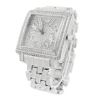 Weiss Gold Ton Square Face Analog Voll Iced Out Luxus Herren Jojino Bling