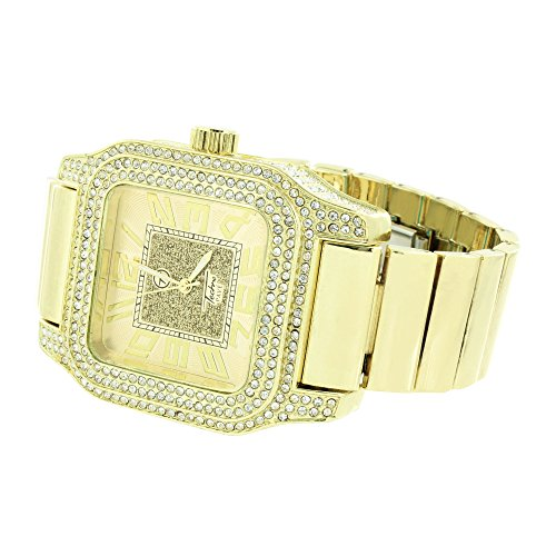 Stretch Elastic Band Armbanduhr simulierten Diamanten Gold Finish New Square Face