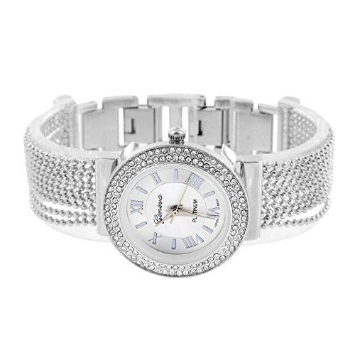 Damen Bead String Armbanduhr Designer Weiss Gold Ton Geneva Einzigartige Jojo Joe Rodeo