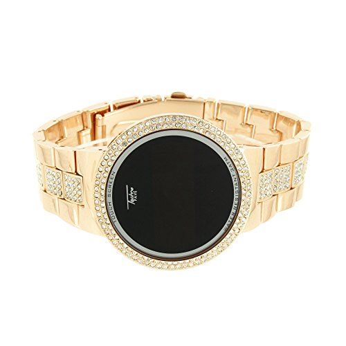 Touchscreen Smart Watch 14 K Rose Gold Finish Simuliert Diamant Band New