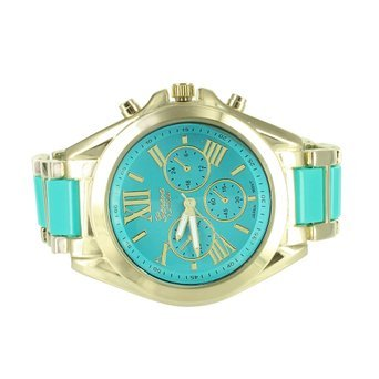 Tuerkis Blau Zifferblatt Gelb Gold Finish Geneva Platinum Stahl Fall New