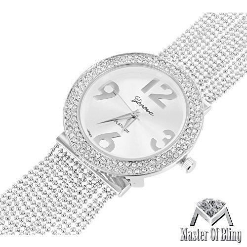 Weiblich Geneva Armbanduhr Weiss Gold Ton Platin Silber Zifferblatt Designer Armband Gitarrengurt